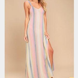 Billabong Sky High Light Pink Striped Maxi Dress S